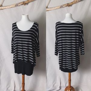WHBM Striped Stretch Jersey Layered Tee Size M
